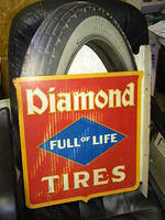 "$OLD Diamond Tires ""Full of Life"" Diecut Tin DST Flange Sign"