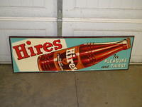 $OLD Nice Hires Emb Tin Sign w/ Bottle