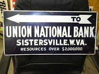 $OLD National Bank Emb Tin Tacker Sign w/ Arrow Sistersville,WVA