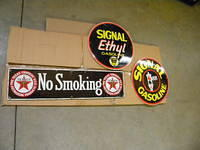 $OLD Early Texaco SSP No Smoking and Signal Porcelain Gas Pump Plate Signs