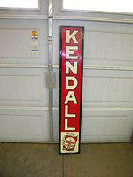 $OLD Kendall Motor Oils Vertical Emb Tin Sign w/ Graphics