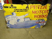 $OLD Peters Motor Works UK Porcelain Sign w/ Auto Graphics