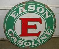 $OLD Eason Gasoline 30 Inch Double Sided Porcelain Sign