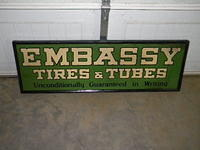 $OLD Embassy Tires & Tubes Tin Sign w/ Wooden Frame