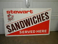 $OLD Stewarts Sandwichers Emb Tin Sign 1970s