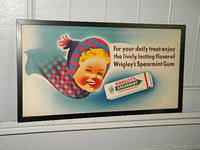 $OLD Wrigley's Gum Cardboard / Trolley Sign w/ Graphics #1