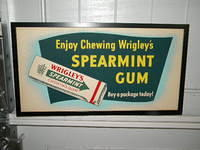 $OLD Wrigley's Spearmint Gum Cardboard / Trolley Sign w/ Graphics #4
