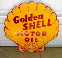 $OLD Golden Shell Motor Oil DSP 36 Inch Sign
