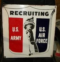 $OLD Air Force Army Porcelain Graphic Recruiter Sign