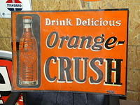 $OLD Orange Crush Early Tin Sign w/ Bottle