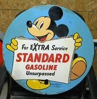 $OLD Standard SST Tin Sign w/ Mickey Mouse 1940
