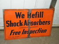 $OLD Monroe Shock Absorbers Early Tin Flange Sign