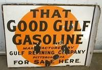 $OLD Good Gulf DSP Porcelain Flange Sign