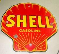 $OLD Shell Gasoline PPP Porcelain Pump Sign