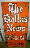 $OLD The Dallas News Gulf Colors Porcelain Texas Lighthouse Highway Sign