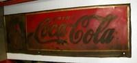 $OLD Coca Cola Tin Sign w/ Shadow Bottles