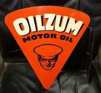 $OLD Original Oilzum Motor Oil DST Tin Flange Sign AM 1953