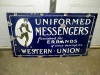 $OLD Western Union Uniformed Messenger DSP w/ Graphics Bicycle Rack Sign