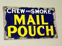 $OLD Chew Mail Pouch Tobacco Porcelain Door Push Sign