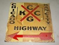 Early Embossed Tin Highway Route Marker Sign Kansans City to Chicago NOS