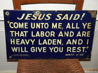 "Neat Porcelain Sign ""Give you Rest"" from the book of Matthew"